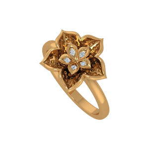 The Floraltastic Gold Diamond Floral Ring