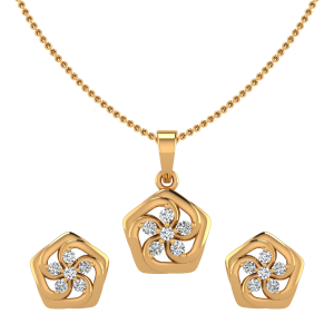 The Floral Posse Diamond Pendant Set
