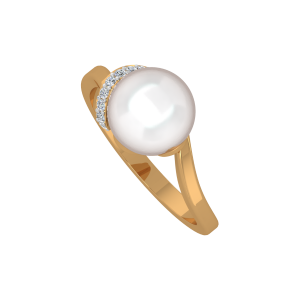 The Pearl Pebble Gold Diamond & Pearl Ring