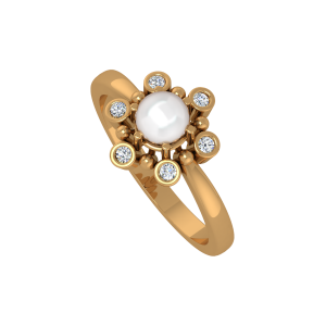 The Pearl Play Gold Diamond & Pearl Ring