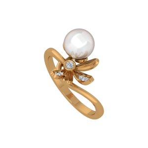 The Pearl Suave Gold Diamond & Pearl Ring