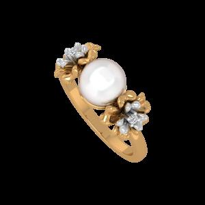 Sassy Flowers Gold Diamond & Pearl Ring