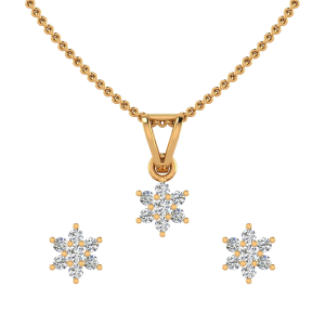 The Floral Spangle Diamond Pendant Set