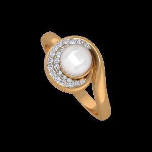 The Moon Dance Gold Diamond & Pearl Ring