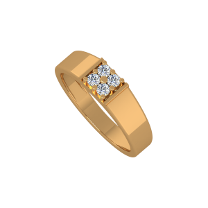 The Fashion Four Gold Diamond Men's Ring