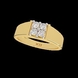 The Fashion Four Gold Diamond Men's Ring
