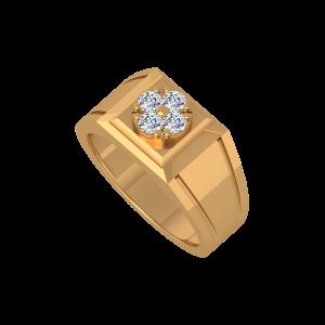 The Shining Clover Gold Diamond Men's Ring