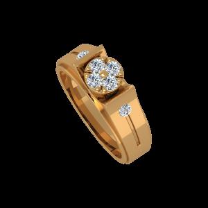 The Glitter Sliders Gold Diamond Men's Ring