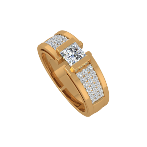 The Solitaire Sway Gold Diamond Men's Ring
