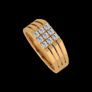 The Bold Lines Gold Diamond Men's Ring