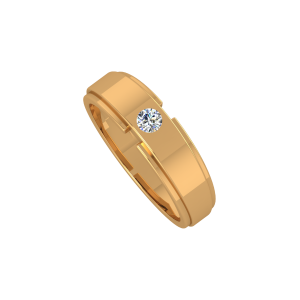 The Solitaire Band Gold Diamond Men's Ring