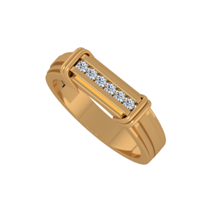 The White Streak Gold Diamond Men's Ring