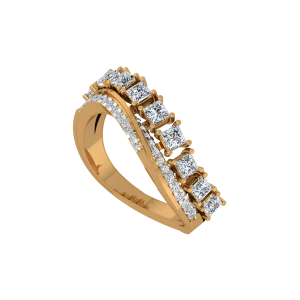 Diamonds On Ride Gold Diamond Ring