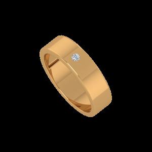 The Plain Pop Gold Diamond Men's Ring