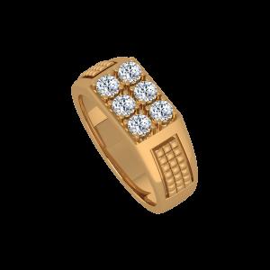 Stars Delight Gold Diamond Men's Ring