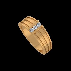 The Triple Joy Gold Diamond Men's Ring