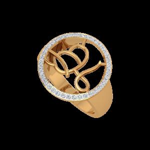 The Playful Initials Gold Diamond Men's Ring