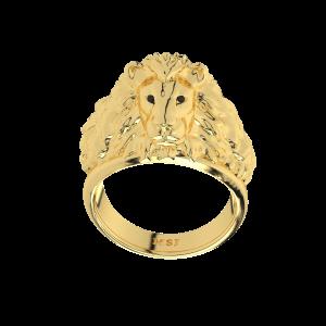 The Furious Lion King Gold Diamond Men`s Ring