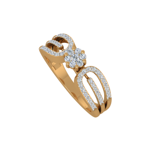 The Floral Bling Gold Diamond Ring