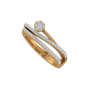 The Waves Entwined Gold Diamond Ring