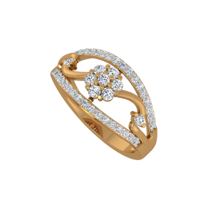 The Floral Aura Gold Diamond Ring