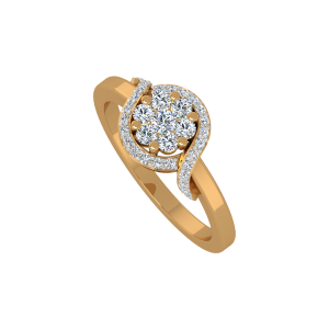 The Floral Flair Gold Diamond Ring