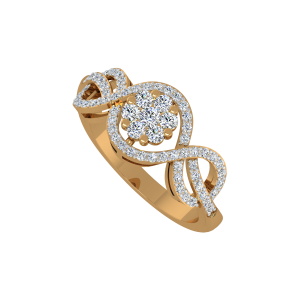 Blossomy Floral Gold Diamond Ring