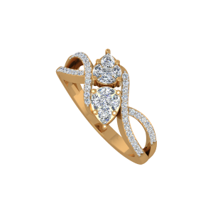 The Poised Pears Gold Diamond Ring