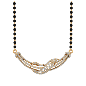 The Illumination Mangalsutra With Black Beads Gold Chain