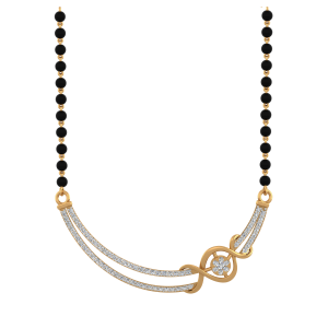 Infinite Smile Mangalsutra With Black Beads Gold Chain