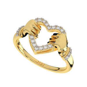 Hold My Heart Gold Diamond Heart Ring