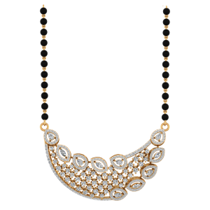 The Plumage Mangalsutra With Black Beads Gold Chain