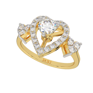 With The Heart Gold Diamond Ring