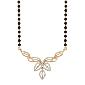 Plucked & Planted Mangalsutra With Black Beads Gold Chain