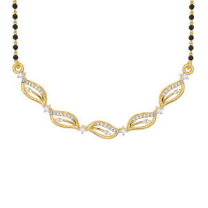In The Garden Mangalsutra With Black Beads Gold Chain