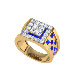 The Alfred Men`s Diamond Ring W/ Enamel