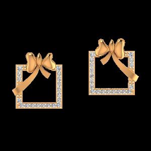 Golden Frame Diamond Earrings