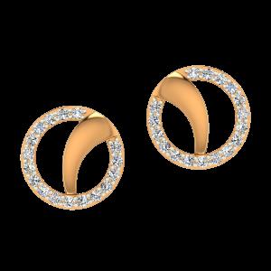 Golden Swoosh Gold Diamond Earrings