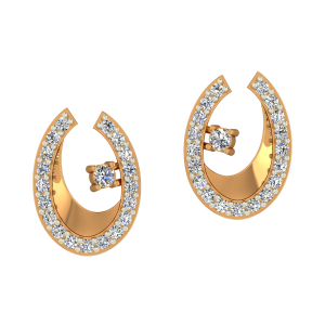 Oval All Gold Diamond Earrings