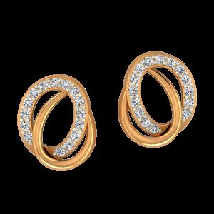 Ovallap Gold Diamond Earrings