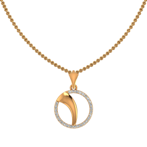 Golden Swoosh Diamond Pendant