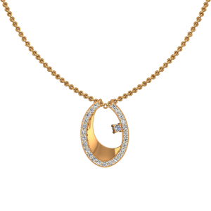 Oval Out Gold Diamond Pendant