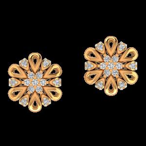The Petals Meet Gold Diamond Earrings