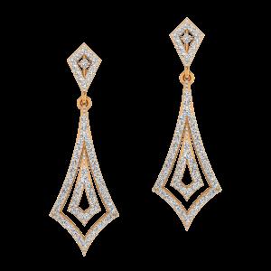Right Dangle Gold Diamond Earrings