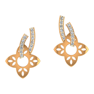 Floral Poise Gold Diamond Earrings