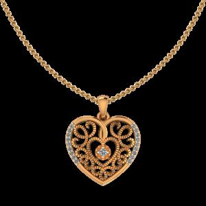 Heart`s Art Diamond Pendant