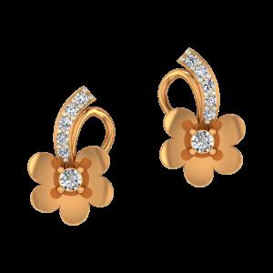 Floral Glitter Gold Diamond Earrings