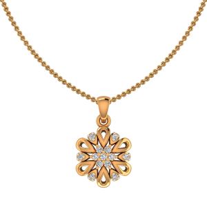 The Petals Meet Gold Diamond Pendant