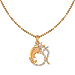 Lord Ganpati Om Gold Diamond Pendant