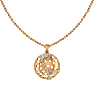 Jubilant Pattern Gold Diamond Pendant
